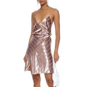 Blush Michelle Mason Strappy Wrap Velvet Mini
